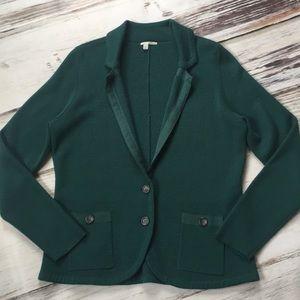 Halogen Green Knit Cardigan Blazer Coat Pockets Xl
